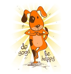 Cartoon red dog doing tree position of yoga vector