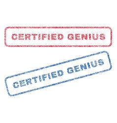Certified genius textile stamps vector
