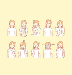 Child emotions and facial expressions set vector