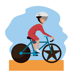 color scene with faceless bicycle rider vector image