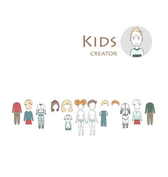 Creator set with boy and girl kit clothing and vector