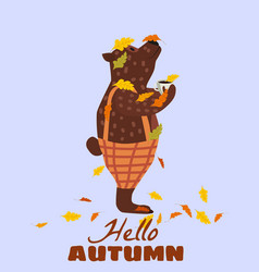 cute autumn bear covered in fallen autumn leaves vector image
