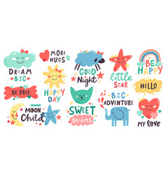 Cute kids lettering nursery hand drawn quotes vector