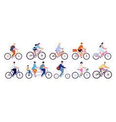 cyclists characters fun active woman cyclist vector image
