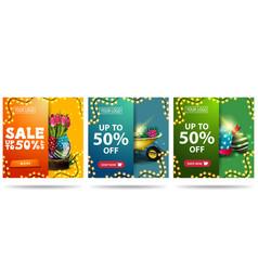 Easter sale up to 50 off collection square vector