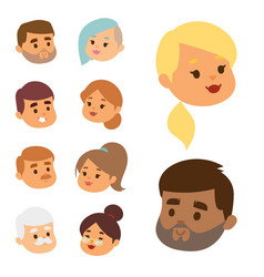 eemotion people faces cartoon emotions vector image