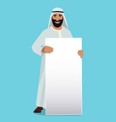 empty white banner in hands of arabic businessman vector image