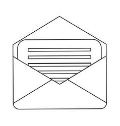 envelope mail symbol black and white vector image