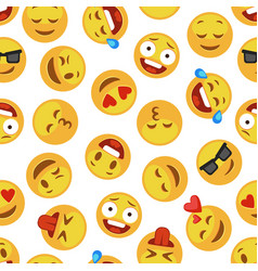 faces smile pattern funny cute smiley expression vector image
