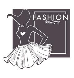 fashion boutique monochrome logo with model vector image