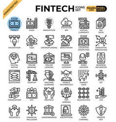 Fintech financial technology concept icons vector