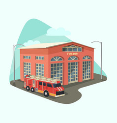 Firehouse building or fire department with truck vector