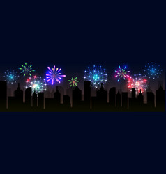 Fireworks over the city vector