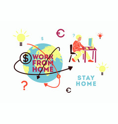Freelance work from home world online business vector