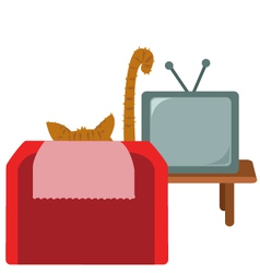 Funny cat watching tv vector