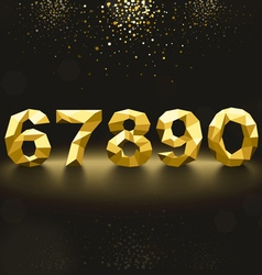 Golden Lowpoly Numbers from 6 to 0 vector image