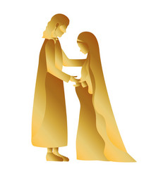 Golden saint joseph and mary virgin pregnancy vector