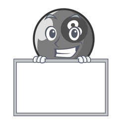 grinning with board billiard ball character vector image