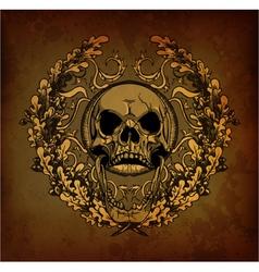 grunge floral frame with skull vector image