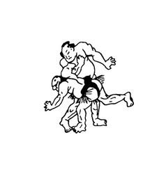 Hand drawn of sumo man wrestlers vector