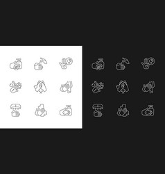 Hand washing steps linear icons set for dark and vector