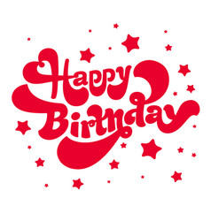 happy birthday logotype and card vector image