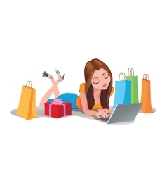Happy Woman shopping online Internet Shopping vector