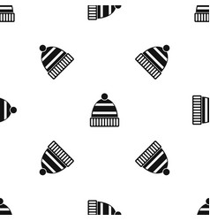 hat pattern seamless black vector image