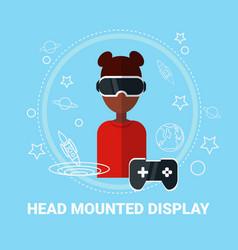 Head mounted display african american woman vector
