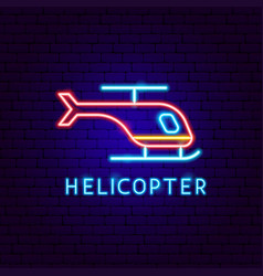 helicopter neon label vector image