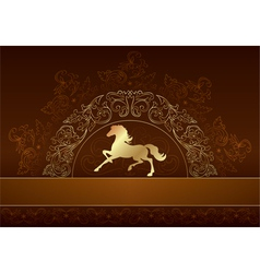 Horse silhouette on vintage floral background vector image