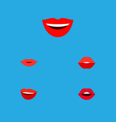 Icon flat mouth set of lips pomade smile and vector