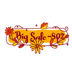 icon on the theme of the autumn big sale for 80 vector image
