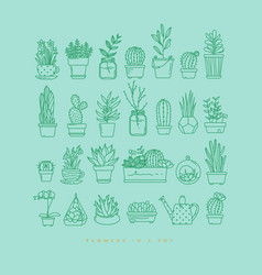 icon plants in pots turquoise vector image