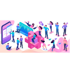 Isometric set young people to create bright vector