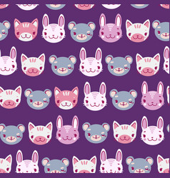 Kids seamless pattern with heads of smiling vector