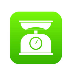 Kitchen scales icon digital green vector