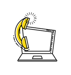 laptop computer with telephone service vector image