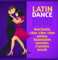 Latin dance studio template vector