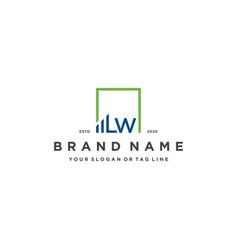 Letter lw square logo finance design vector