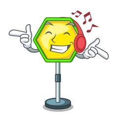 listening music road traffic sign on the cartoon vector image