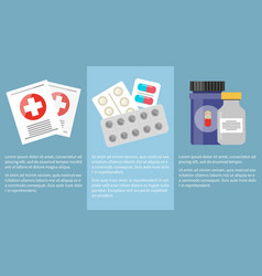 Medicine icons collection with information below vector