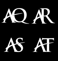 Monogram logo design initial letter aq-ar-as-at vector