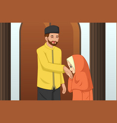 Muslim girl kissing her father hand vector