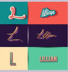 Name lilian in various retro graphic design vector