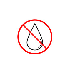 no water drop line icon prohibition sign vector image