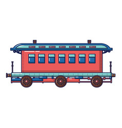 Old fashion passenger wagon icon cartoon style vector