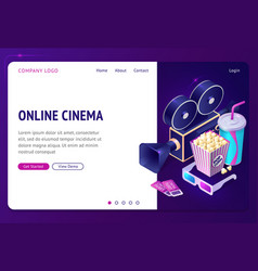 online cinema isometric landing page internet app vector image