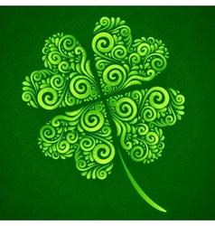 ornate clover on dark green background vector image