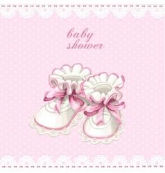 Pink booties baby shower card vector image